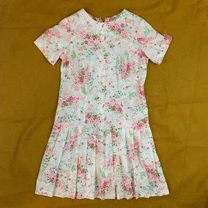 VINTAGE 60s Light Pink Floral Linen Dress